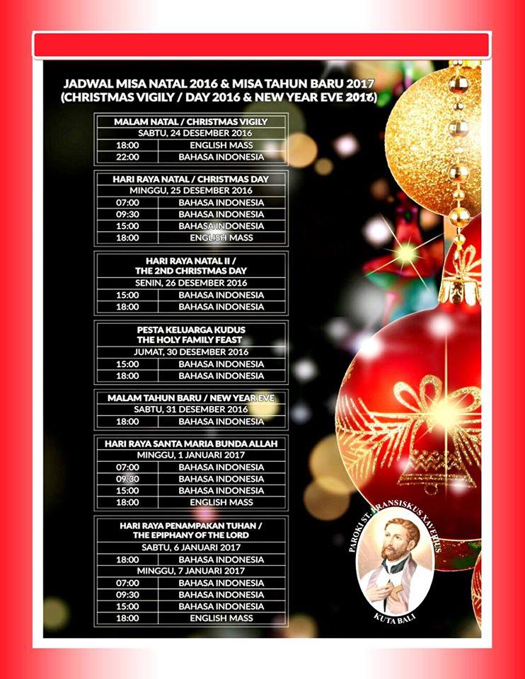 Jadwal Misa Natal (Christmas) 2016 dan Tahun Baru 2017